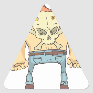 Adesivo Triangular Criminoso perigoso estilo esboçado Tattooed da