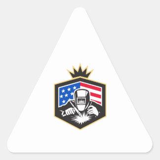Adesivo Triangular Crista da bandeira dos EUA da soldadura de arco do