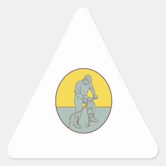 Adesivo Triangular Desenhar oval de funcionamento do Jackhammer do