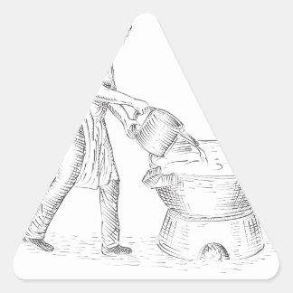 Adesivo Triangular Desenho da fundição do Candlemaker do vintage