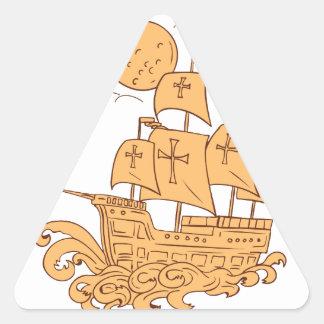Adesivo Triangular Desenho da lua do navio de navigação de Caravel