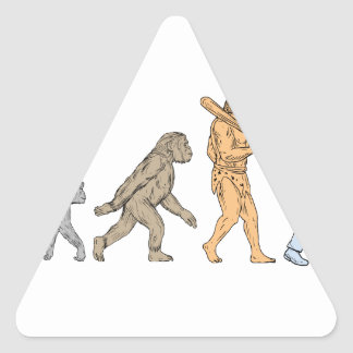 Adesivo Triangular Desenho de passeio da evolução humana