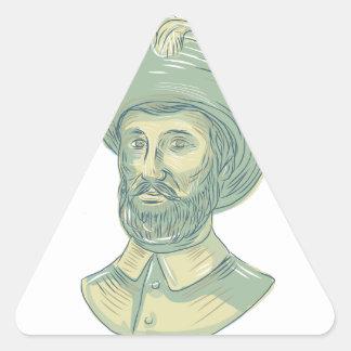 Adesivo Triangular Desenho do busto de Juan Sebastian Elcano