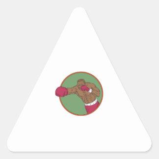 Adesivo Triangular Desenho do círculo do gancho direito do pugilista