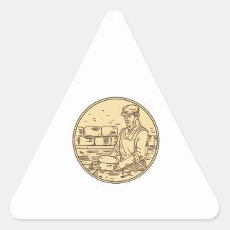 Adesivo Triangular Desenho do círculo do queijo cheddar do fazer do