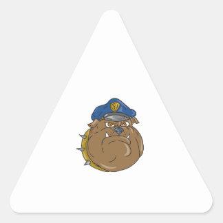 Adesivo Triangular Desenhos animados da cabeça do polícia do buldogue
