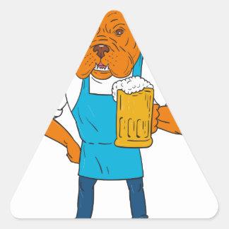 Adesivo Triangular Desenhos animados da mascote da caneca do