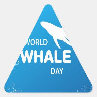 Adesivo Triangular Dia da baleia do mundo - dia da apreciação