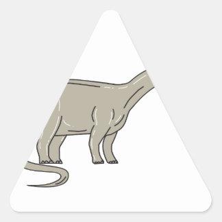 Adesivo Triangular Dinossauro do Brontosaurus que olha abaixo da mono