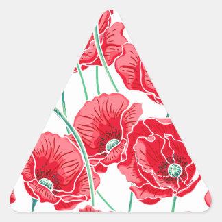 Adesivo Triangular Do campo vermelho da papoila da relembrança teste