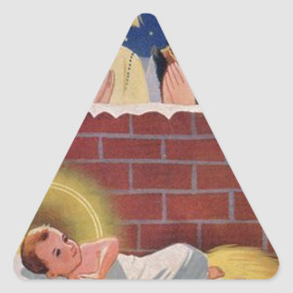 Adesivo Triangular Do Natal polonês de Wesołyeh Świąt do vintage arte