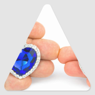 Adesivo Triangular Dois corações da jóia na mão do homem e da mulher
