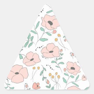 Adesivo Triangular Elegant seamless pattern with flowers, vector illu