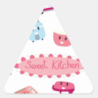 Adesivo Triangular Eletricidade cor-de-rosa doce da cozinha e ícone