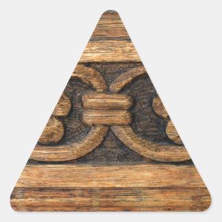 Adesivo Triangular escultura de madeira do painel
