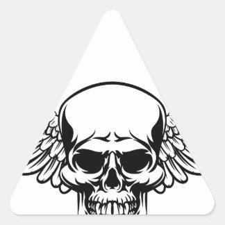 Adesivo Triangular Estilo gravado vintage voado do Woodcut do crânio