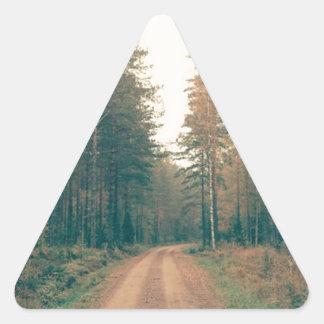 Adesivo Triangular Estrada de terra de Brown entre o dia com folhas