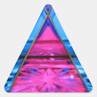 Adesivo Triangular Etiquetas--Triângulo cor-de-rosa de vidro de