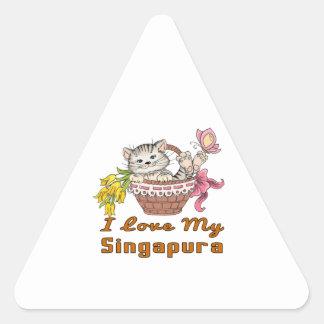 Adesivo Triangular Eu amo meu Singapura