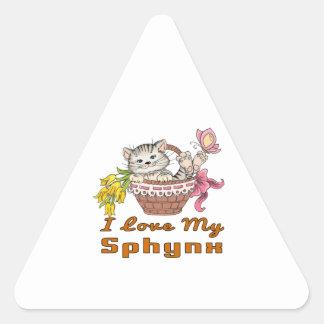 Adesivo Triangular Eu amo meu Sphynx