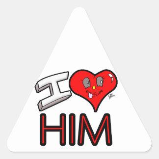 Adesivo Triangular Eu amo-o com coração