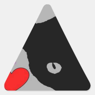 Adesivo Triangular EU AMO o texto feliz do divertimento do TSHIRT dos