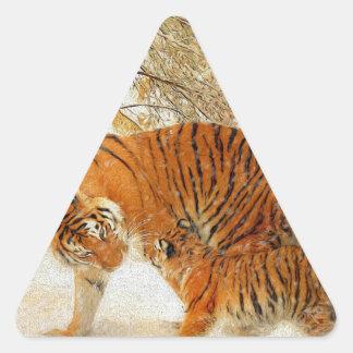 Adesivo Triangular Família em um blizzard - PaintingZ do tigre
