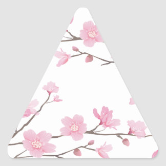 Adesivo Triangular Flor de cerejeira - Transparente-Fundo