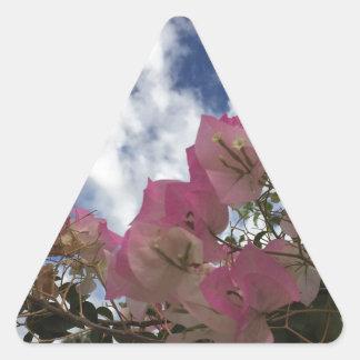 Adesivo Triangular flores cor-de-rosa contra um céu azul