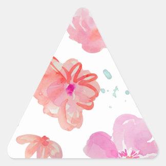 Adesivo Triangular Flores cor-de-rosa românticas da aguarela