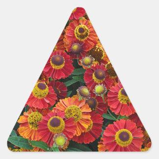 Adesivo Triangular Flores vermelhas e alaranjadas do helenium