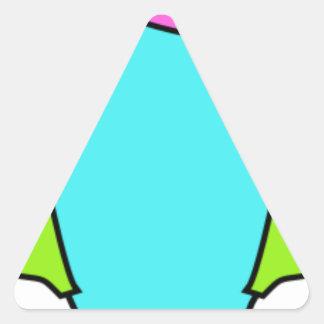 Adesivo Triangular Fones de ouvido vestindo-se coloridos