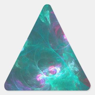 Adesivo Triangular Fractal abstrato em uma paleta fria