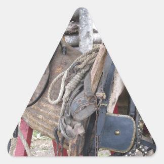 Adesivo Triangular Freios e bocados de couro gastos do cavalo