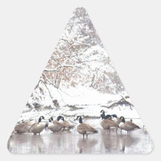 Adesivo Triangular Gansos na neve