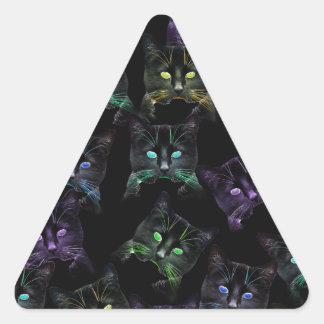 Adesivo Triangular Gatos legal no preto! gatos Multi-coloridos