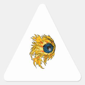 Adesivo Triangular Globo ocular flamejante no desenho do fogo