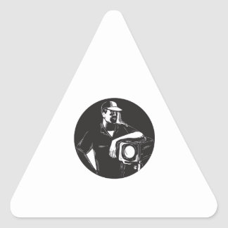 Adesivo Triangular Grupo de filme que ilumina o círculo Woodcu do