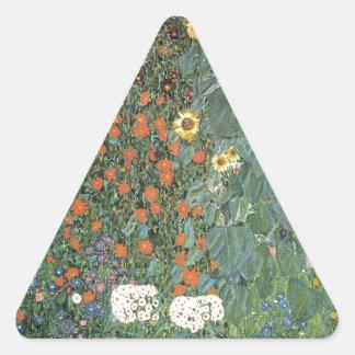 Adesivo Triangular Gustavo Klimt - flores dos girassóis do jardim do