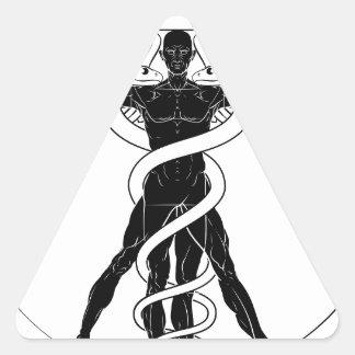 Adesivo Triangular Homem de Vitruvian do Caduceus