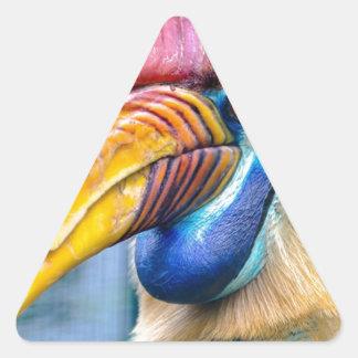 Adesivo Triangular Hornbill vermelho e amarelo