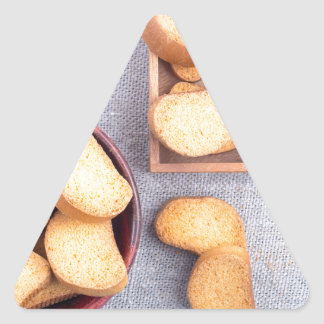 Adesivo Triangular Ideia superior das partes de pão secado