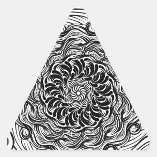 Adesivo Triangular Ilusão óptica do Doodle ornamentado do zen preto e