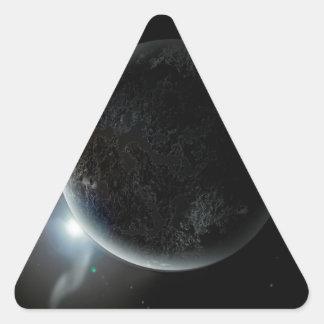 Adesivo Triangular ilustração preta do planeta 3d no universo