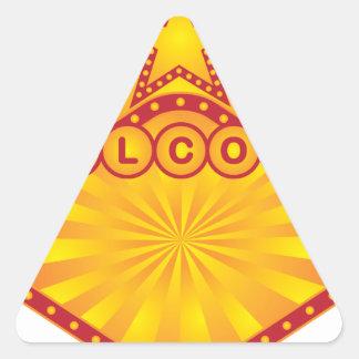 Adesivo Triangular Ilustração retro do sinal de boas-vindas do famoso