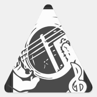 Adesivo Triangular Jogo da guitarra do melómano preto e branco