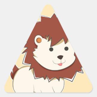 Adesivo Triangular Leão feliz do bebê dos desenhos animados