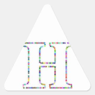 Adesivo Triangular Letra H da estrela do arco-íris