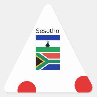 Adesivo Triangular Língua de Sesotho e bandeiras de Lesotho/África do