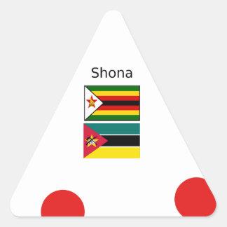 Adesivo Triangular Língua de Shona e bandeiras de Zimbabwe e de